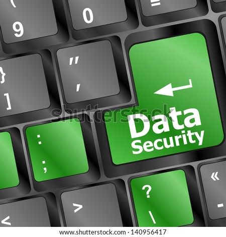 data security word green keyboard button, raster - stock photo
