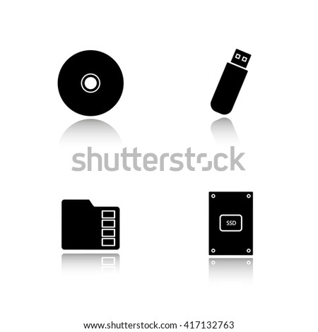 Data storage devices drop shadow icons set. External ssd hard drive, portable usb stick, micro sd mobile memory card, compact disc. Digital gadgets. Logo concepts. Raster black illustrations - stock photo