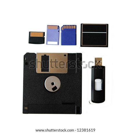 Data storage, different kind of memory cards, disk, and driver - stock photo