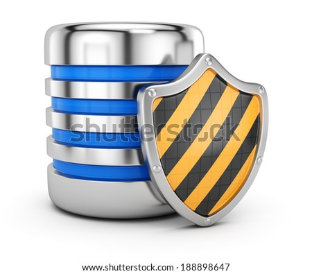 Data storage protection concept isolated on white background. 3d rendering illustration - stock photo