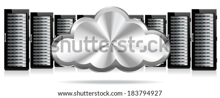 Data Storage System in the Cloud - Raster Version - stock photo