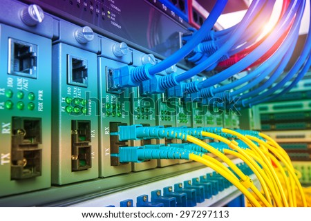 Data transfer by optical fibre information technology. - stock photo