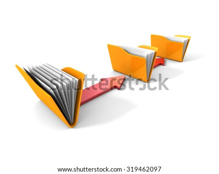 Data Transfer Concept with Yellow Office Folders and Arrows. 3d Render Illustration - stock photo