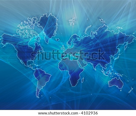 Data transfer over a map of the world blue - stock photo