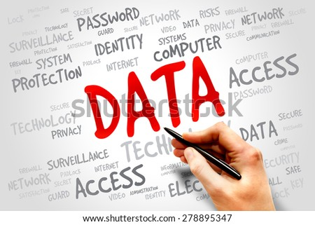 DATA word cloud, security concept - stock photo