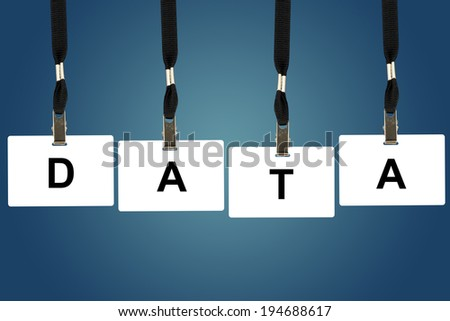 Data word on badge with blue background - stock photo