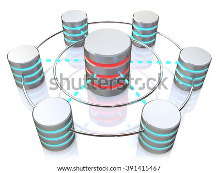 Database and networking concept: connected metal hard disk icons isolated on white background - stock photo