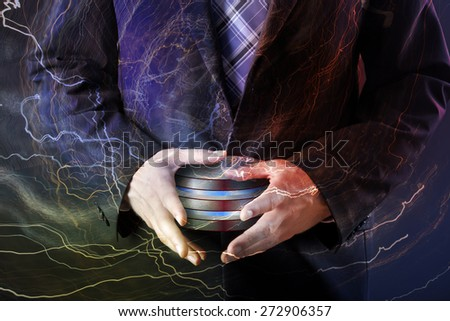 Database background - informaton technology and business concept - stock photo