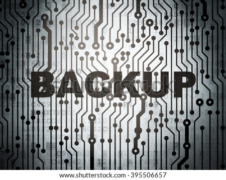 Database concept: circuit board with Backup - stock photo