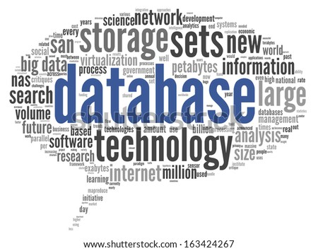 Database concept in word tag cloud on white background - stock photo