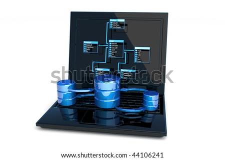 Database design. Hi-res digitally generated image. - stock photo