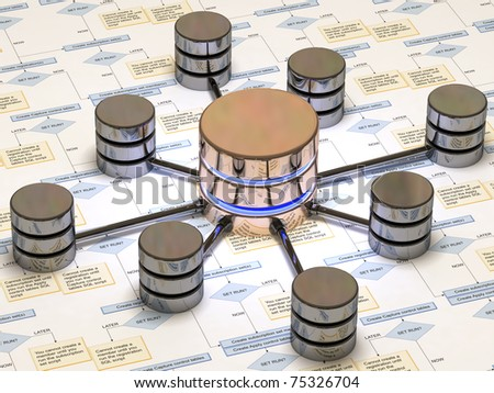 database in black and yellow over a white background done in reflective materials - stock photo