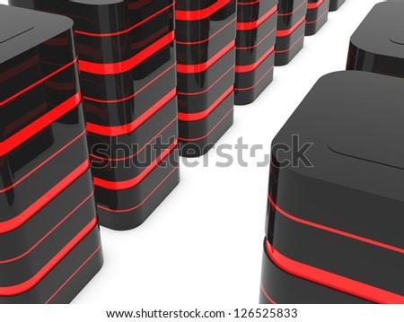 Database server room or data center - stock photo