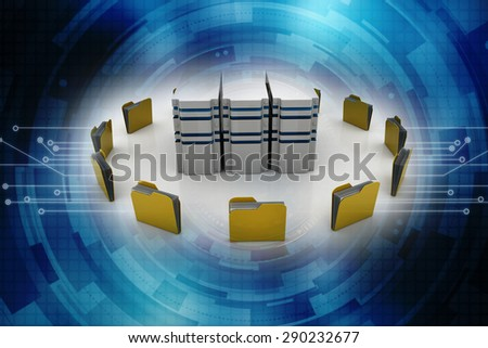 database symbol connected to computer folder icons (3d render) - stock photo