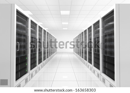 Datacenter with two rows of computers in white room - stock photo