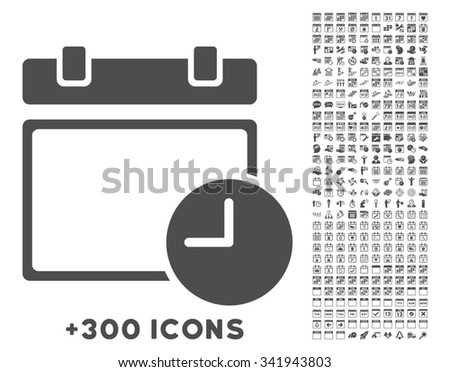Date And Time glyph icon with additional 300 date and time management pictograms. Style is flat symbols, gray color, rounded angles, white background. - stock photo