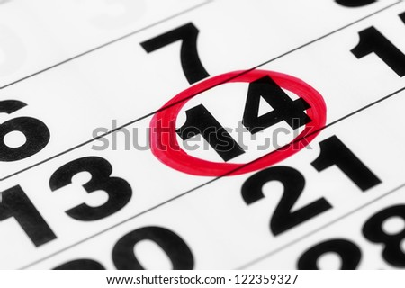 Date on the calendar in red marker - stock photo