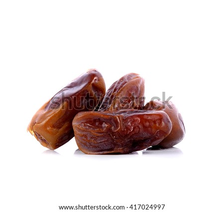 date palm,date fruit on white background - stock photo
