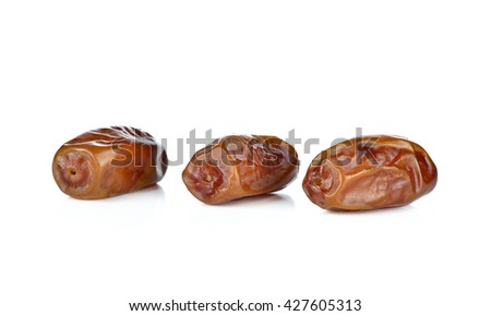 Date palm,date fruit on white background. - stock photo