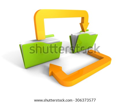 Date Transferring Concept With Document Folders And Arrows. 3d Render Illustration - stock photo