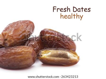 Dates isolated on white background - stock photo