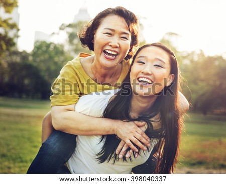 Daughter Mother Adorable Affection Casual Life Concept - stock photo