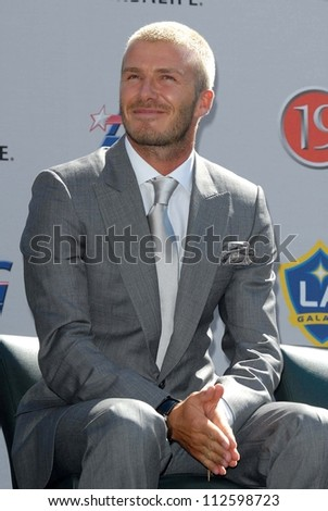 David Beckham at the press conference to introduce David Beckham as the newest member of the Los Angeles Galaxy. Home Depot Center, Carson, CA. 07-13-07 - stock photo