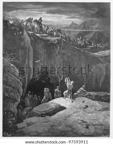 David shows Saul - Picture from The Holy Scriptures, Old and New Testaments books collection published in 1885, Stuttgart-Germany. Drawings by Gustave Dore. - stock photo