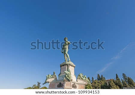 David Statue at Piazzale Michelangelo (Michelangelo Square), designed by architect Giuseppe Poggi on a hill just south of the historic center, on the left bank of the Arno river in Florence, Italy - stock photo