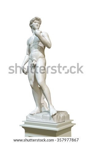 david statue isolated on white background - stock photo