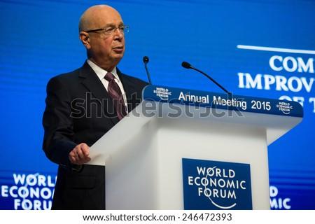 DAVOS; SWITZERLAND - Jan 21; 2015: Klaus Schwab Founder and Executive Chairman; World Economic Forum in Davos (Switzerland) - stock photo