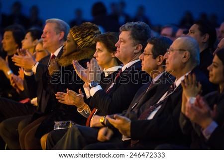 DAVOS, SWITZERLAND - Jan 20, 2015: President of Ukraine Petro Poroshenko on opening ceremony of World Economic Forum Annual Meeting 2015 in Davos, Switzerland - stock photo