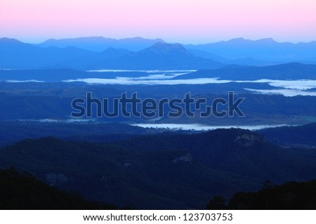Dawn at Lamington National Park, Queensland,Australia - stock photo