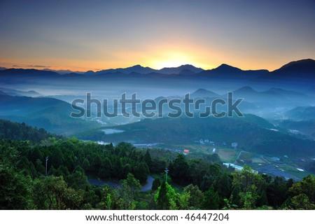 dawn at mountains in mountains - stock photo