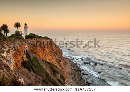 Dawn at Point Vicente, Palos Verdes, Los Angeles - stock photo