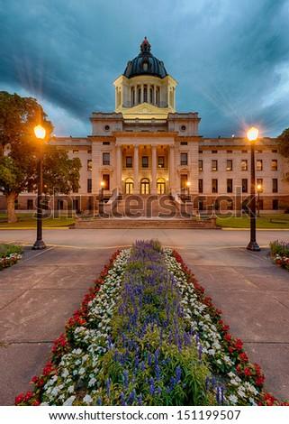 Dawn at the South Dakota State Capitol building at 500 East Capitol Avenue in Pierre, South Dakota - stock photo