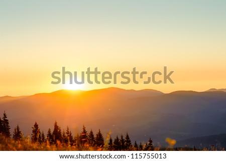 Dawn in mountains Carpathians, Ukraine. - stock photo