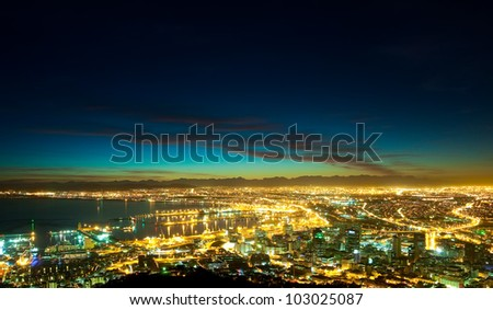 Dawn in the City (South Africa, Cape Town) - stock photo