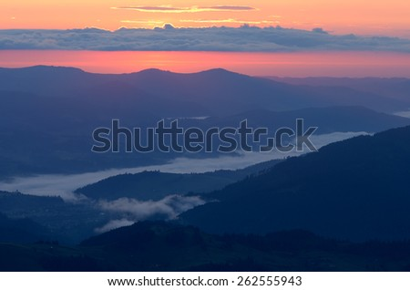 Dawn in the mountains. Morning landscape - stock photo