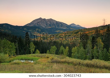 Dawn landscape in the Colorado Rockies, USA. - stock photo