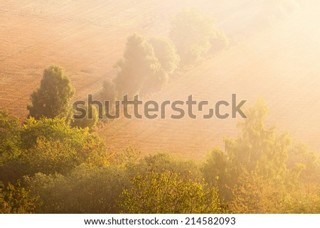 Dawn mist over the fields at sunrise - stock photo