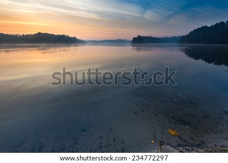 dawn on lake. beautiful landscape - stock photo