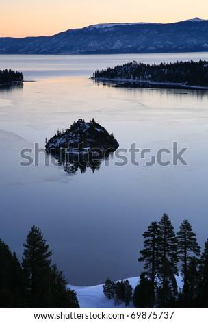 Dawn over Emerald Bay on Lake Tahoe, California. - stock photo