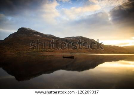 Dawn over Loch Maree - stock photo