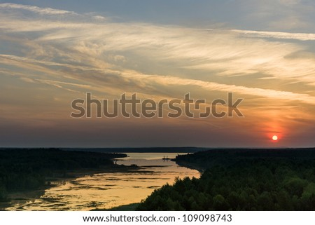 Dawn over Senftenberger See. Germany. - stock photo