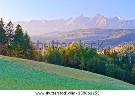 Dawn over The High Tatras. The Carpathian Mountains. View From Spis Magura, Podhale. Poland. - stock photo