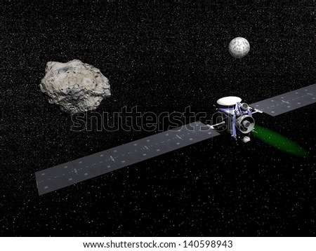 Dawn robotic spacecraft next to Ceres and Vesta, members of the asteroid belt, to study them in space.  - Elements of this image furnished by NASA - stock photo
