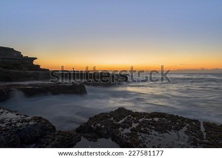Dawn shot of the coastline of Maroubra and Mahon Pool - stock photo