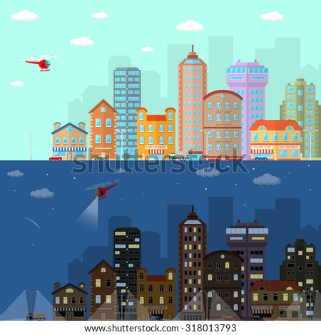 Day and night city flat horizontal banner set with urban and suburb house buildings isolated  illustration - stock photo