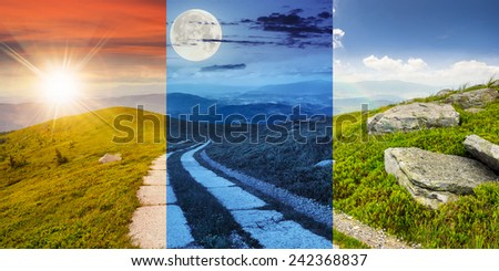 day and night collage of composite panorama Landscape with road on a hillside with huge stones and conifer trees  near mountain peak - stock photo